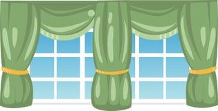 Ventana con las cortinas verdes Imágenes de archivo libres de regalías
