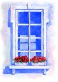 Ventana con las flores watercolor Fotos de archivo