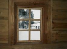 Ventana con los marcos de madera Imagen de archivo libre de regalías