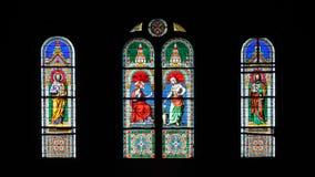 Ventana de cristal de la mancha con Jesús imagen de archivo