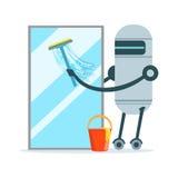 Ventana de cristal de limpieza del carácter del robot de la criada con un ejemplo del vector del enjugador y del cubo ilustración del vector