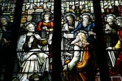 Ventana de cristal manchada en una iglesia Foto de archivo libre de regalías