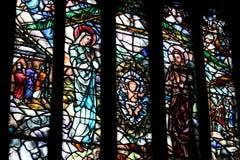 Ventana de cristal manchada en una iglesia Fotos de archivo
