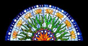 Ventana de cristal manchada semirredonda Foto de archivo libre de regalías