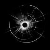 Ventana de cristal quebrada con el agujero de bala en fondo Fotos de archivo libres de regalías