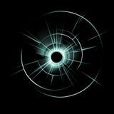 Ventana de cristal rota verde con el agujero de bala Imagen de archivo libre de regalías