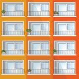 Ventana de la construcción de viviendas colorida