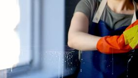 Ventana de la limpieza de la mujer con el limpiador especial almacen de metraje de vídeo