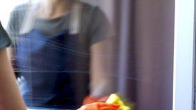 Ventana de la limpieza de la mujer con el limpiador especial metrajes