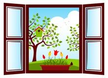 Ventana de la primavera Foto de archivo libre de regalías