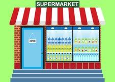 Ventana de la tienda, supermercado, mercancías del ultramarinos libre illustration