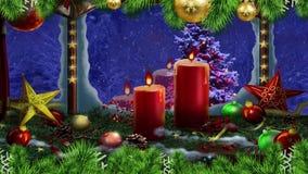 Ventana de los saludos de las velas de la Navidad stock de ilustración