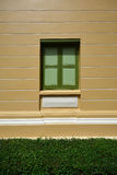 Ventana de madera del vintage en la pared del color con la hierba verde Imagenes de archivo
