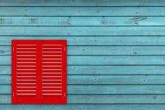 Ventana de madera roja retra con la persiana de Sutters representación 3d stock de ilustración