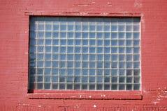 Ventana del bloque de cristal de la pared de ladrillo Imagen de archivo libre de regalías