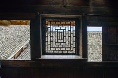Ventana del estilo chino de la silueta Imagenes de archivo