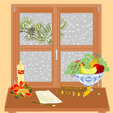 Ventana del invierno con la vela de la Navidad y el vector del libro viejo Imágenes de archivo libres de regalías
