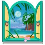Ventana del marco abierto con vistas a la playa arenosa de la costa de mar por claro de luna Ejemplo de la historieta del primer  libre illustration