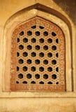 Ventana del modelo en la tumba de Humayun, Delhi Imagen de archivo