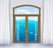 Ventana del paisaje subacuático ilustración del vector