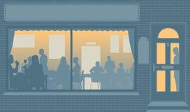 Ventana del restaurante ilustración del vector