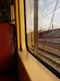 Ventana del tren del suburbio de la mañana Fotografía de archivo