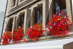Ventana del vintage con las flores y las banderas, Ginebra, Suiza Fotos de archivo libres de regalías