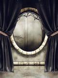 Ventana del vintage y cortinas negras ilustración del vector