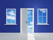 Ventana dos en la nube azul stock de ilustración