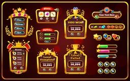 Ventana emergente con los menús principales, el panel del juego con los botones ilustración del vector