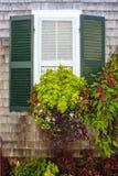 Ventana en casa rústica de la tablilla con los obturadores verdes con la caja de la flor de la ventana por completo de plantas he imagenes de archivo
