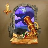 Ventana en el castillo stock de ilustración