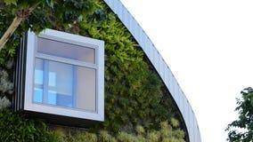 Ventana en el edificio moderno con los jardines verticales metrajes