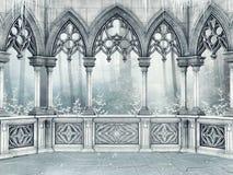 Ventana gótica adornada con los carámbanos stock de ilustración