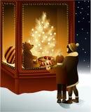 Ventana mágica de la tienda de la Navidad ilustración del vector