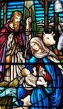 Ventana manchada de los galss del nacimiento de Jesús fotografía de archivo libre de regalías