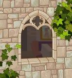 Ventana medieval stock de ilustración