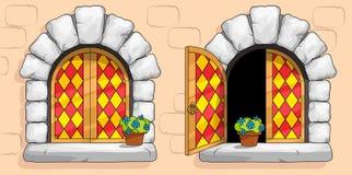 Ventana medieval, vitrales rojos, piedras blancas ilustración del vector