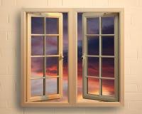 Ventana moderna del pvc del blanco con la vista de la puesta del sol Fotos de archivo libres de regalías