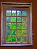 Ventana, molino de Quarrybank, Reino Unido fotografía de archivo