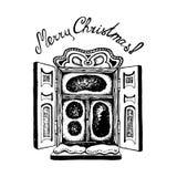 Ventana nevosa del vintage acogedor con la mano de la inscripción de la Navidad dibujada Imagen de archivo libre de regalías