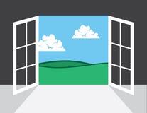 Ventana o puerta al exterior Imagenes de archivo