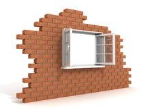 Ventana plástica abierta en una pared de ladrillo destruida