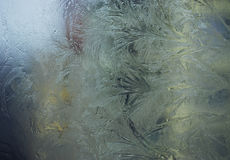 Ventana que hiela azul con hielo Imagen de archivo libre de regalías