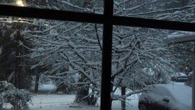 Ventana que mira hacia fuera para nevar yarda y bosque llenados almacen de video