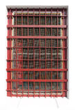 Ventana roja de la jaula Imagen de archivo