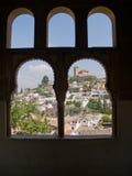 Ventana sin embargo arqueada de Granada Imagen de archivo