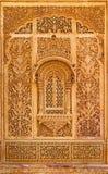 Ventana tallada en el palacio de Mandir, Jaisalmer, Rajasthán, la India Foto de archivo