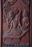 Ventana tallada en templo del nongwaeng Fotografía de archivo libre de regalías