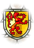 Ventana vieja con el emblema del león Imagen de archivo libre de regalías